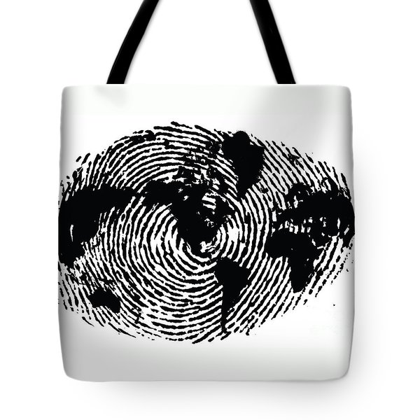 black and white ink print poster One of a Kind Global Fingerprint Tote Bag