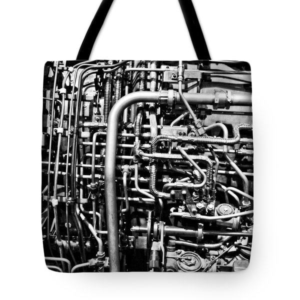 Black And White Jet Engine Tote Bag by Dan Sproul
