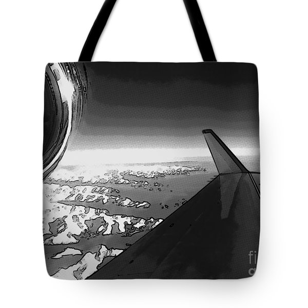 Tote Bag featuring the photograph Jet Pop Art Plane Black And White  by R Muirhead Art