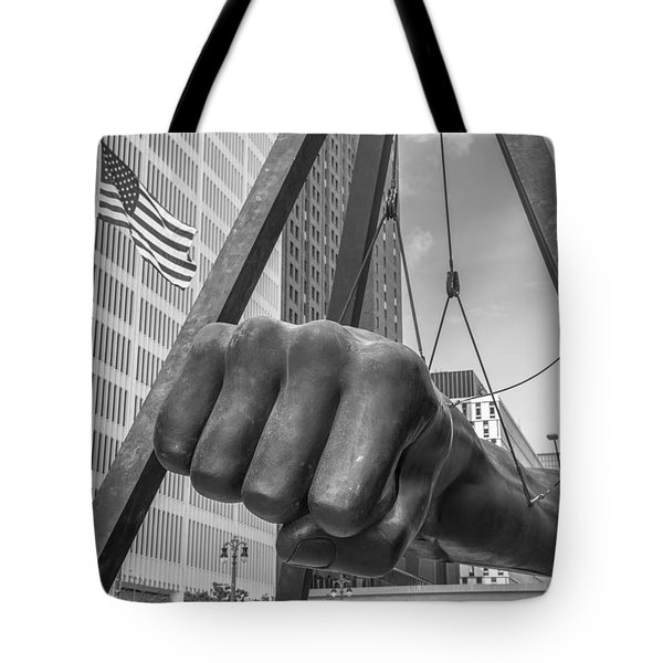 Black And White Joe Louis Fist And Flag Tote Bag
