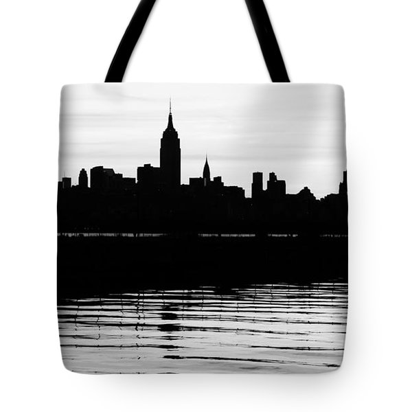 Tote Bag featuring the photograph Black And White Nyc Morning Reflections by Lilliana Mendez