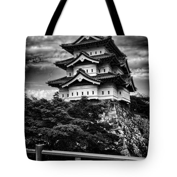 Black And White Of Hirosaki Castle In Japan Tote Bag