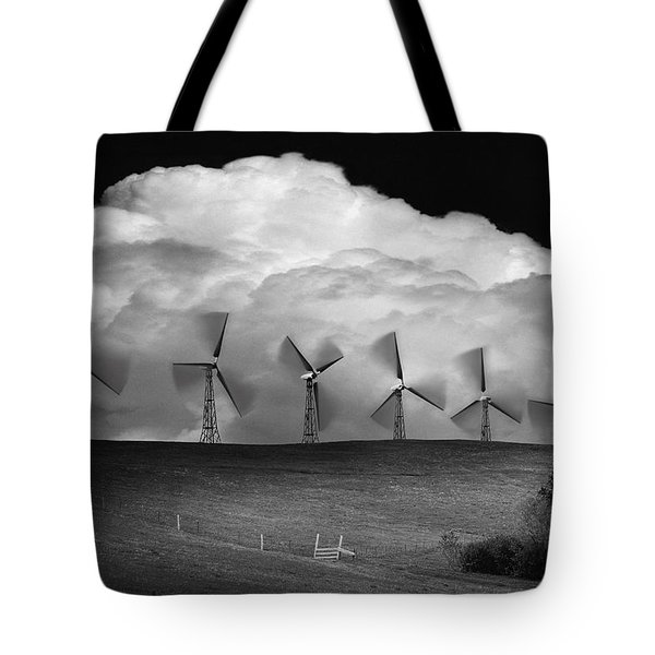 Black And White Of Wind Generators With Tote Bag by Don Hammond
