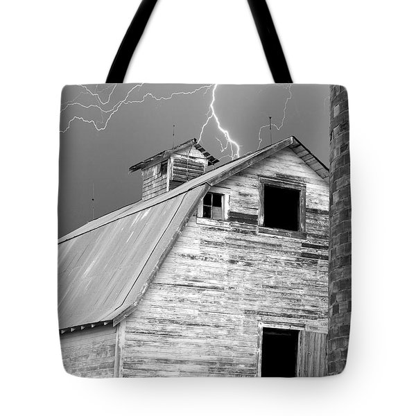 Black And White Old Barn Lightning Strikes Tote Bag by James BO  Insogna