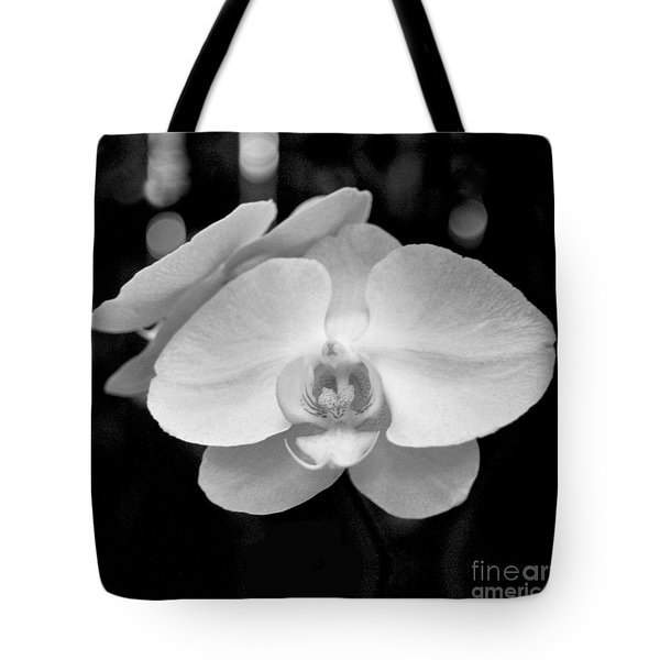 Black And White Orchid With Lights - Square Tote Bag by Heather Kirk