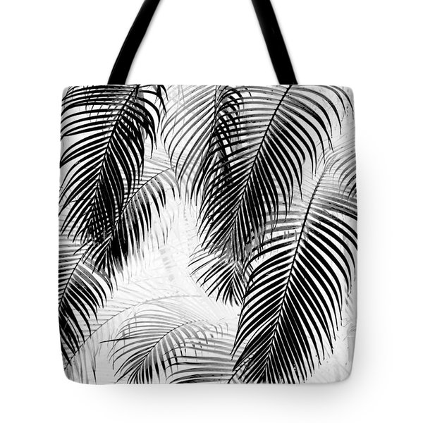 Black And White Palm Fronds Tote Bag