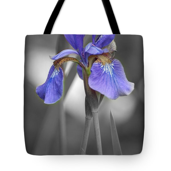 Black And White Purple Iris Tote Bag