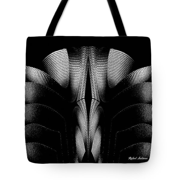 Tote Bag featuring the mixed media Black And White by Rafael Salazar