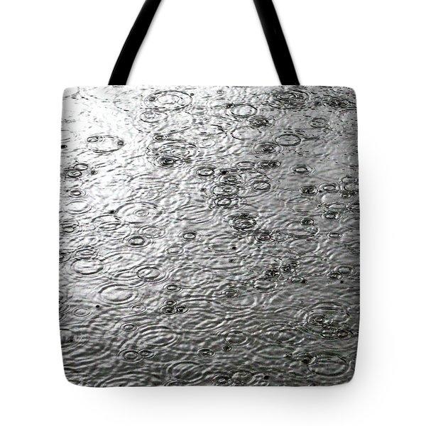 Black And White Rain Tote Bag