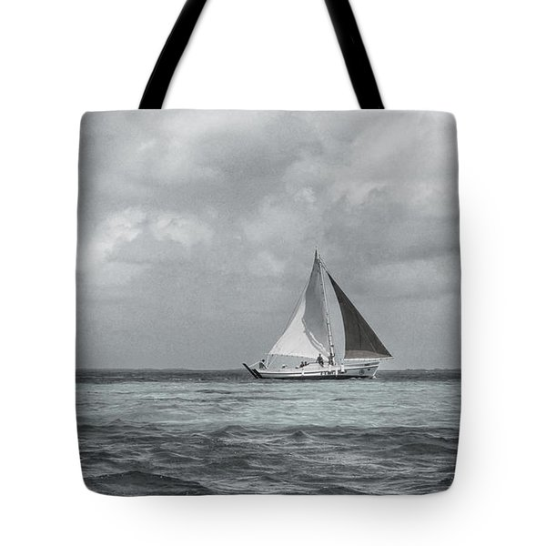 Black And White Sail Boat Tote Bag by Kristina Deane