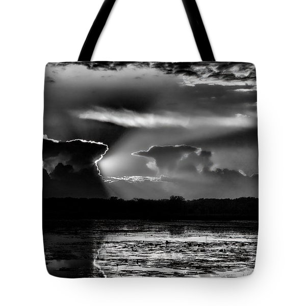 Tote Bag featuring the photograph Black And White Sunset Over The Mead Wildlife Area by Dale Kauzlaric