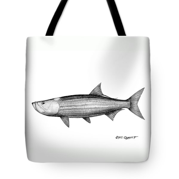 Black And White Tarpon Tote Bag