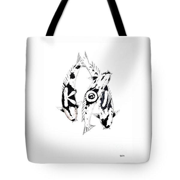 Black And White Trio Of Koi Tote Bag by Gordon Lavender