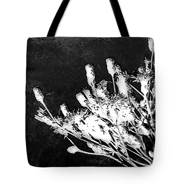 Tote Bag featuring the photograph Black And White Wildflower by Shawna Rowe