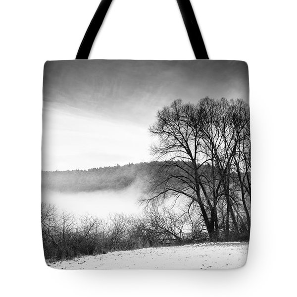 Black And White Winter Landscape With Trees Tote Bag by Matthias Hauser