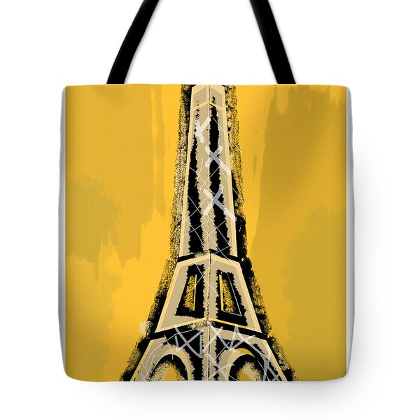 Black And Yellow Eiffel Tower Paris Tote Bag