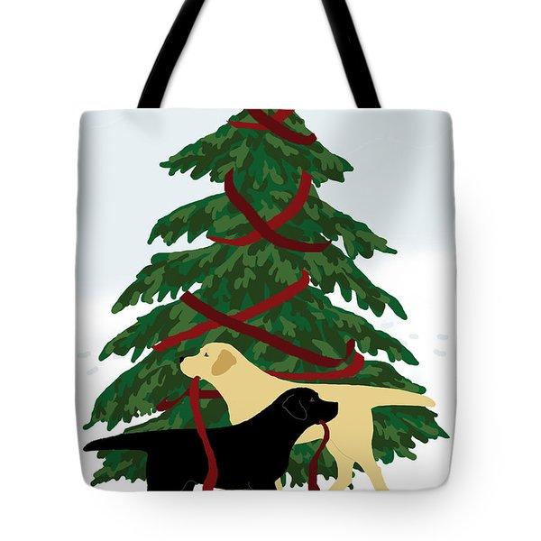 Black And Yellow Labs Trim Christmas Tree Tote Bag