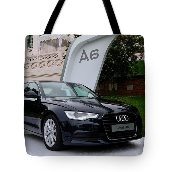 Black Audi A6 Classic Saloon Car Tote Bag