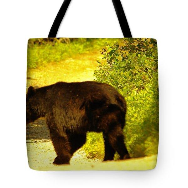 Black Bear Crosses The Path Tote Bag