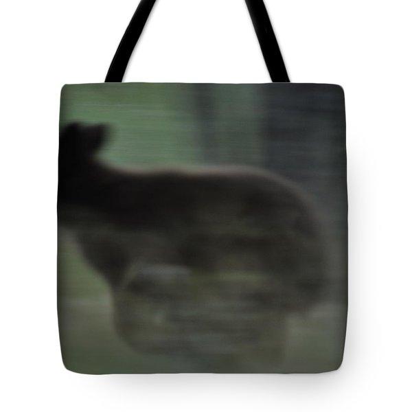 Black Bear Cub Running Tote Bag