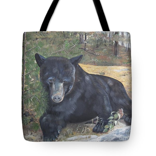Black Bear - Wildlife Art -scruffy Tote Bag by Jan Dappen