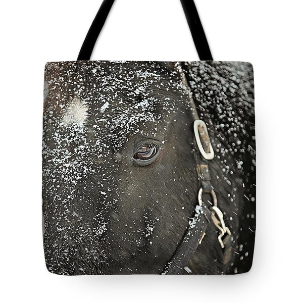 Black Beauty In A Blizzard Tote Bag