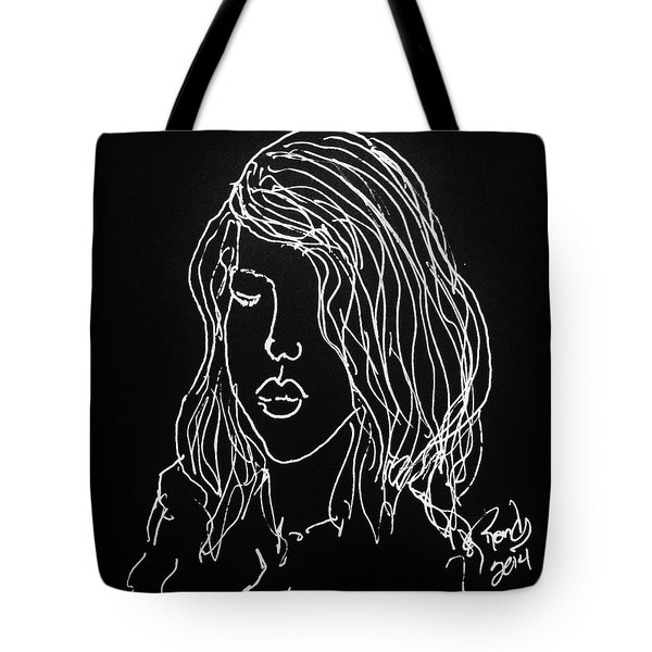 Tote Bag featuring the drawing Black Book 07 by Rand Swift