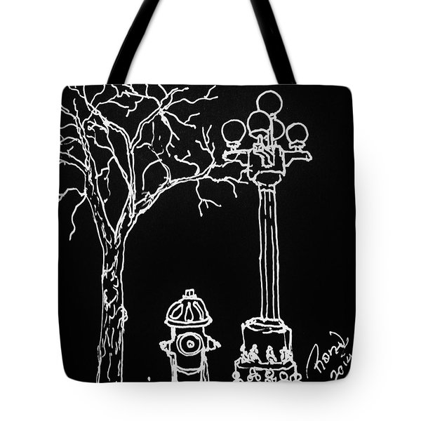 Tote Bag featuring the drawing Black Book 08 by Rand Swift