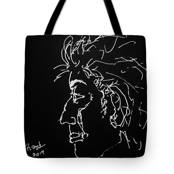 Tote Bag featuring the drawing Black Book 10 by Rand Swift