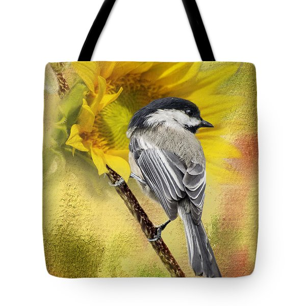 Black Capped Chickadee Checking Out The Sunflowers Tote Bag