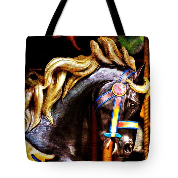 Black Carousel Horse Tote Bag