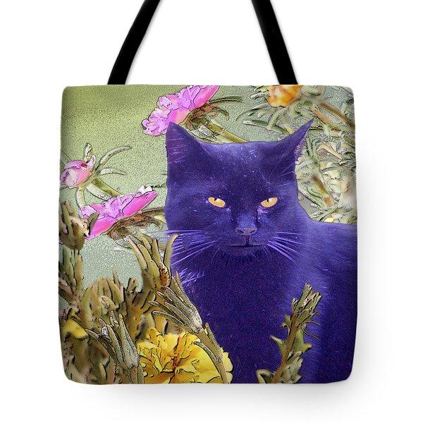 Black Cat Lurking In The Portulaca Tote Bag