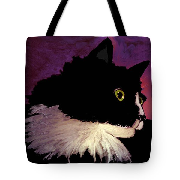 Black Cat On Purple Horizontal Tote Bag