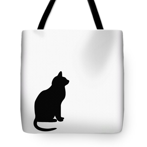 Black Cat Silhouette On A White Background Tote Bag by Barbara Griffin