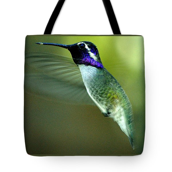 Tote Bag featuring the photograph Black Chinned Male In Flight To Feeder by Jay Milo