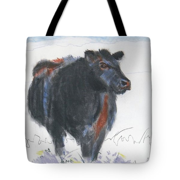 Black Cow Drawing Tote Bag