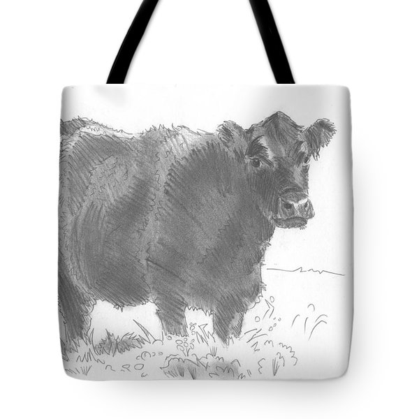 Black Cow Pencil Sketch Tote Bag