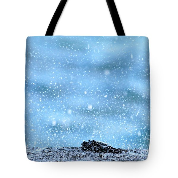 Black Crab In The Blue Ocean Spray Tote Bag by Lehua Pekelo-Stearns
