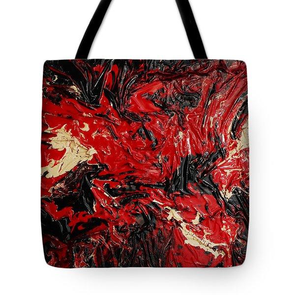Black Cracks With Red Tote Bag
