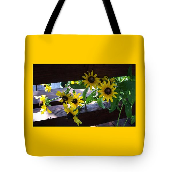 Tote Bag featuring the photograph Black-eyed Susans by Ellen Tully