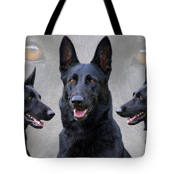 Black German Shepherd Dog Collage Tote Bag