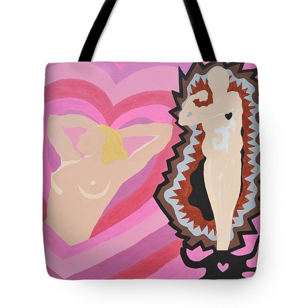 Tote Bag featuring the painting Black Hearted by Erika Chamberlin