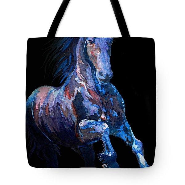 Black Horse In Black Tote Bag