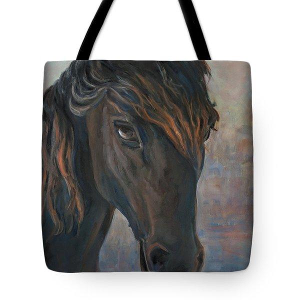 Black Horse Tote Bag by Marco Busoni
