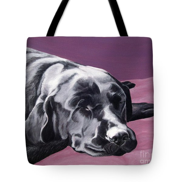 Black Labrador Beauty Sleep Tote Bag by Amy Reges