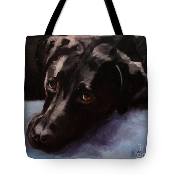 Black Labrador - Custom Pet Portrait Tote Bag