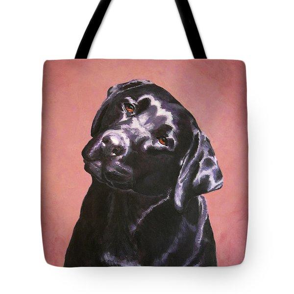 Black Labrador Portrait Painting Tote Bag