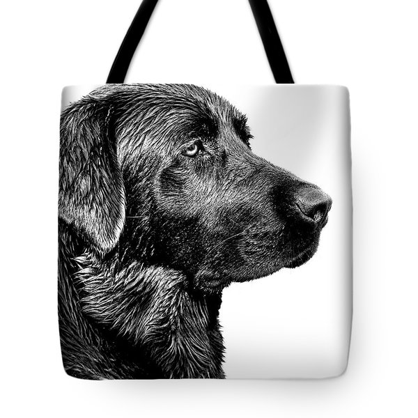 Black Labrador Retriever Dog Monochrome Tote Bag