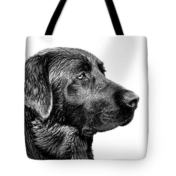 Black Labrador Retriever Dog Monochrome Tote Bag by Jennie Marie Schell