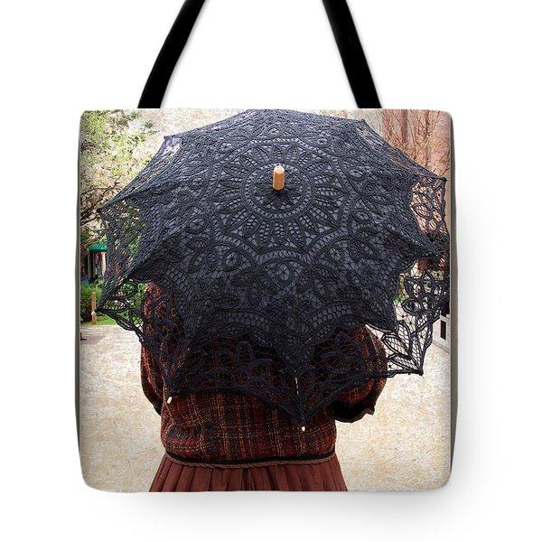 Black Lace Parasol Tote Bag by Kae Cheatham